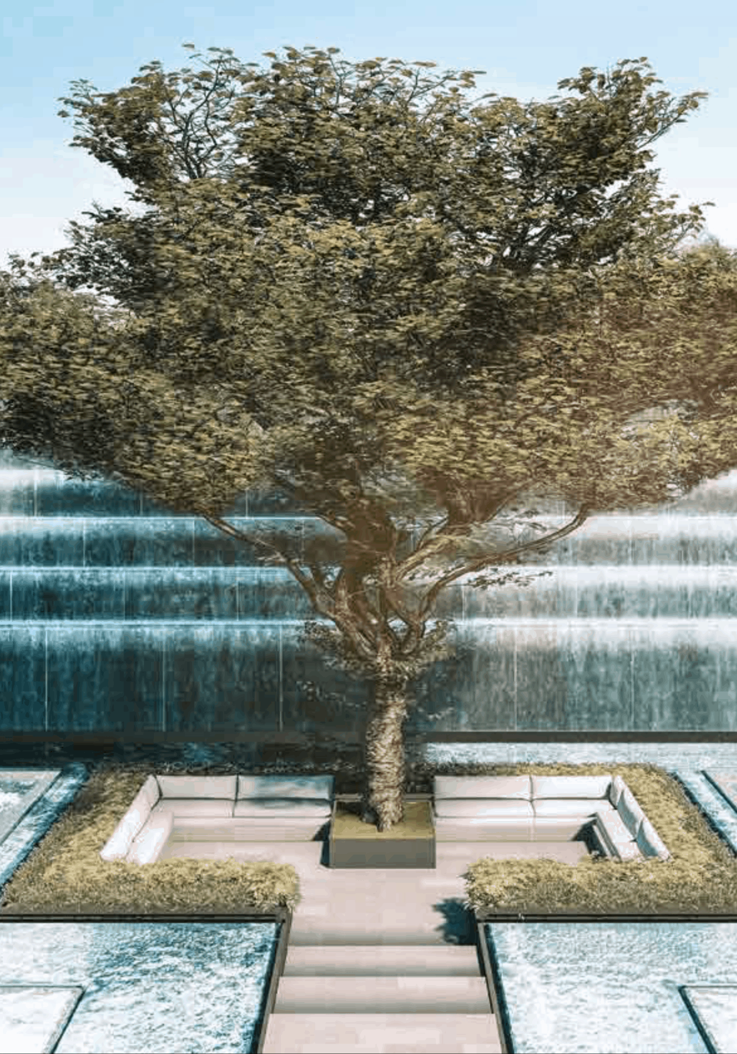 Leedon Green Artist Impression Waterfall Garden Portrait