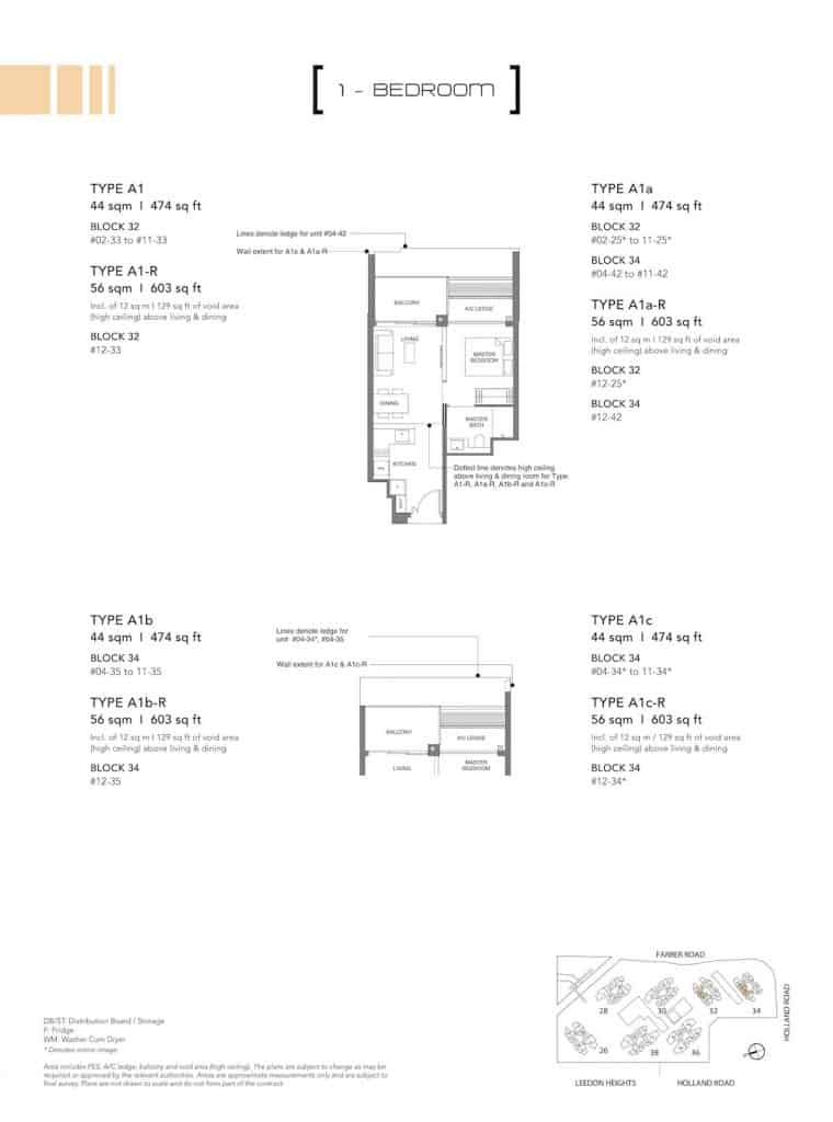 Leedon Green Floor Plan Type A1, A1a, A1b, A1c