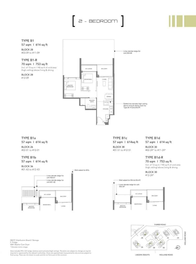 Leedon Green Floor Plan Type B1, B1a, B1c, B1d