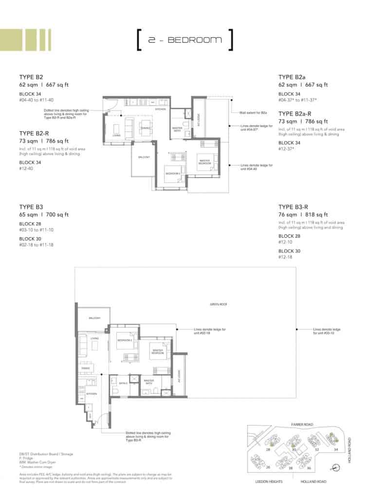 Leedon Green Floor Plan Type B2, B2a, B3