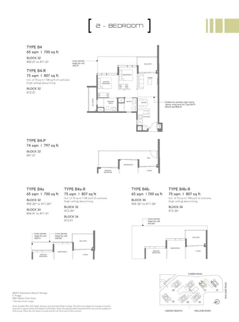 Leedon Green Floor Plan Type B4, B4-P, B4a, B4b
