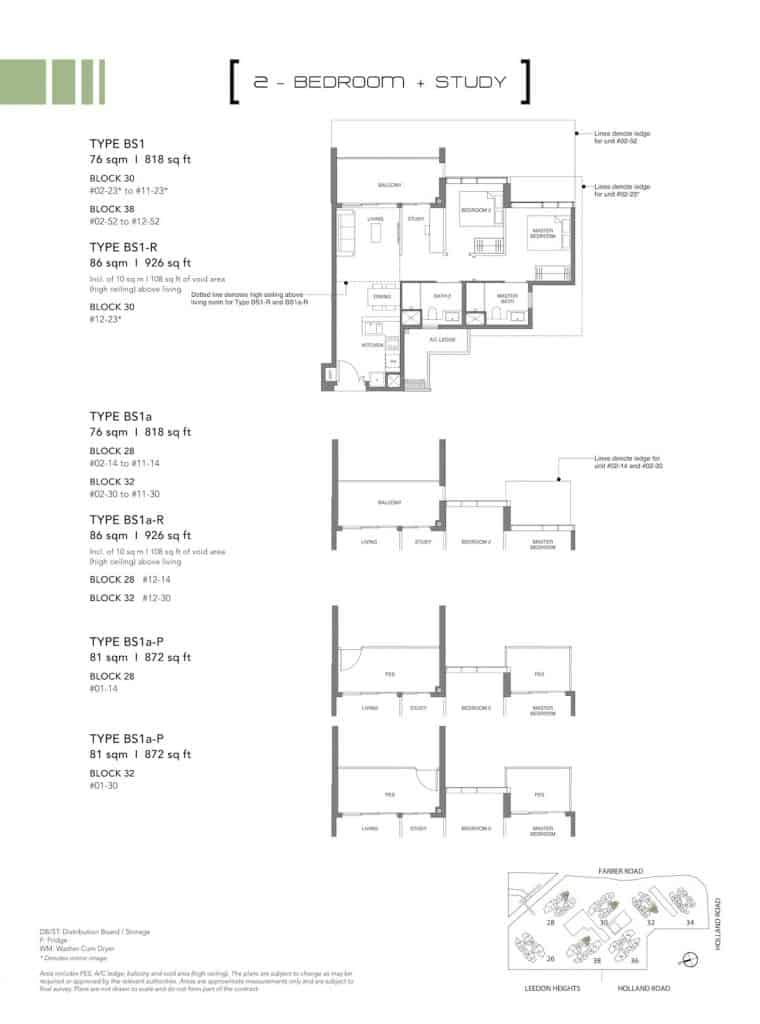 Leedon Green Floor Plan Type BS1, BS1a, BS1a-P