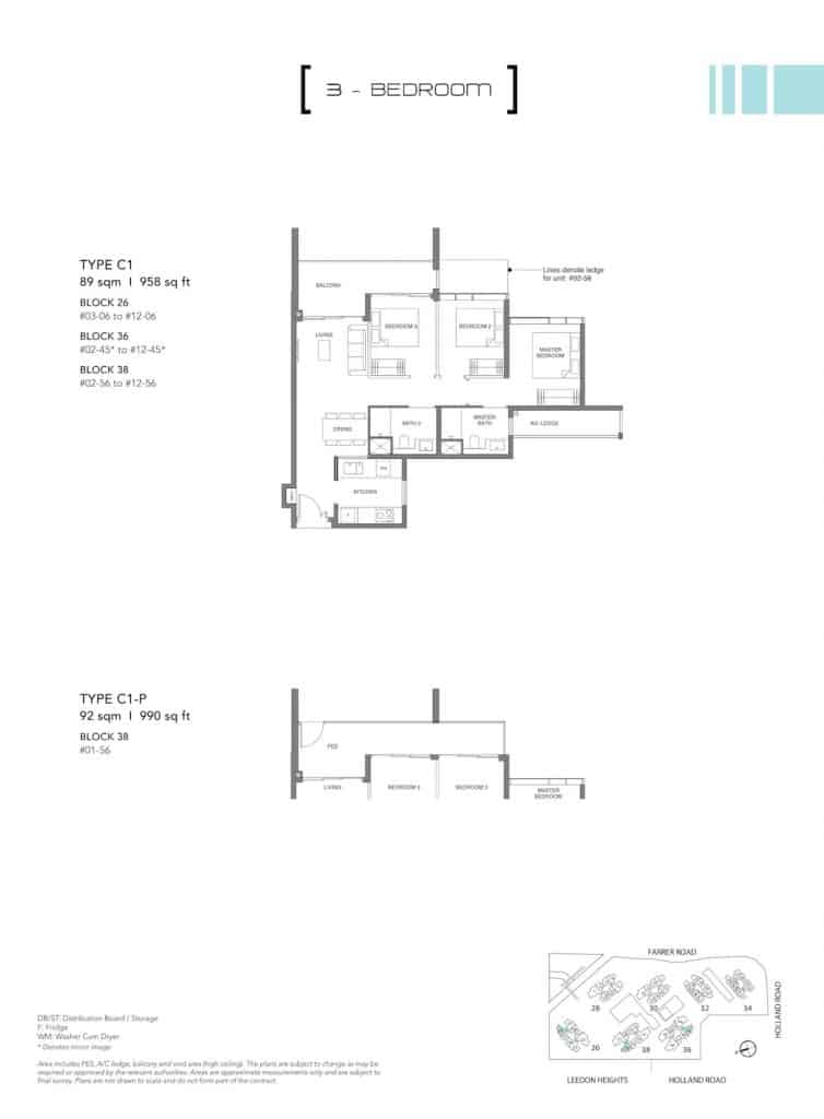Leedon Green Floor Plan Type C1, C1-P