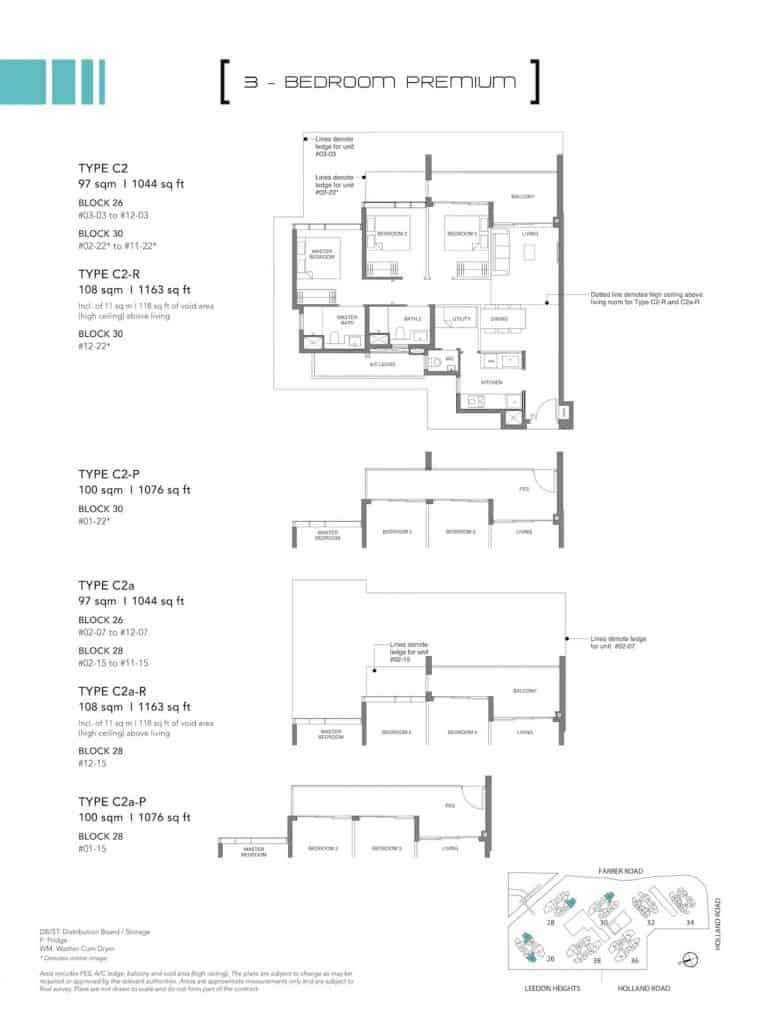 Leedon Green Floor Plan Type C2, C2-P, C2a, C2a-P