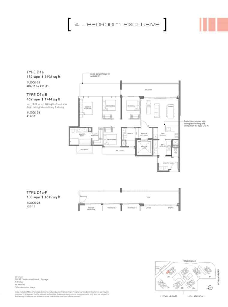 Leedon Green Floor Plan Type D1a, D1ap